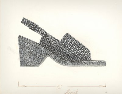 Jerry Miller woven leather and braided straw slingback