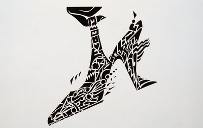 Backless Shoe with Black and White Pattern