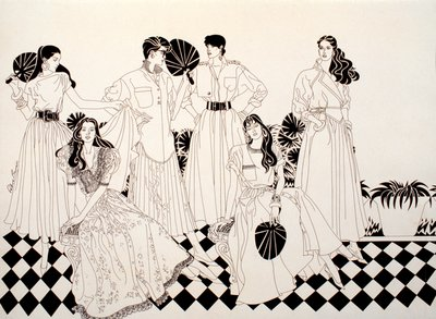 Six Female Figures in Dresses