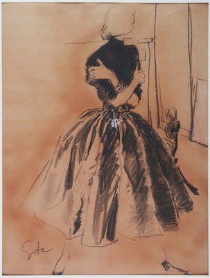 Figure in Bouffant Skirt