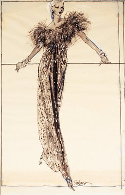 Evening Dress with Feathered Neckline