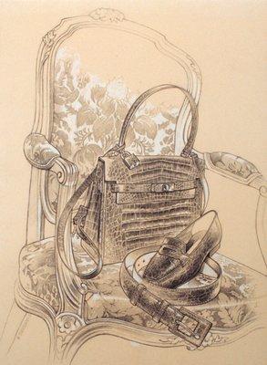 Alligator Handbag, Shoe and Belt