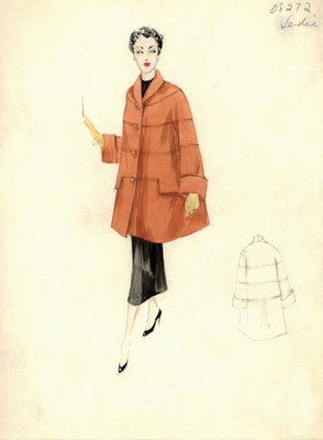 Leslie Morris orange swagger coat
