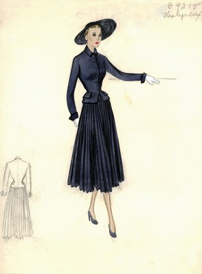 Molyneux suit with pleated skirt