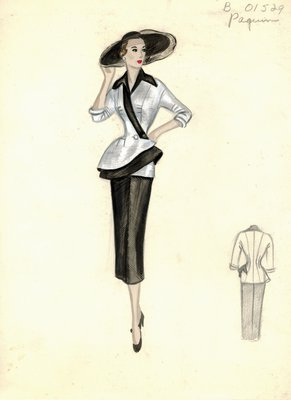 House of Paquin black and white suit