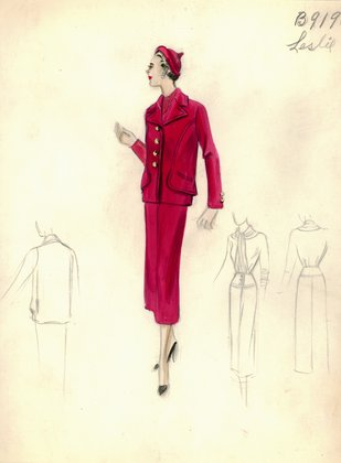 Leslie Morris red suit