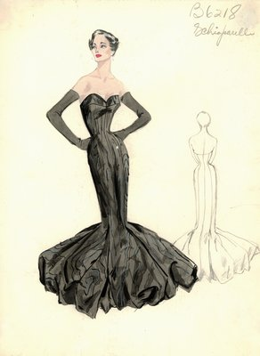 Schiaparelli black moire evening gown