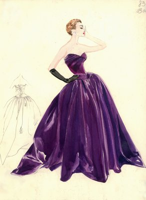 Balmain strapless purple evening gown