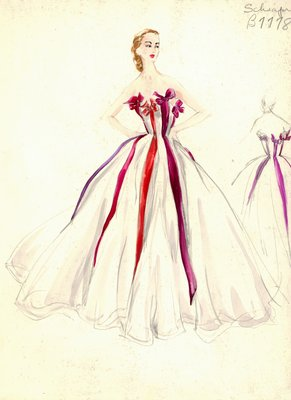 Schiaparelli white evening gown
