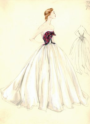 Jacques Griffe white and tartan evening gown