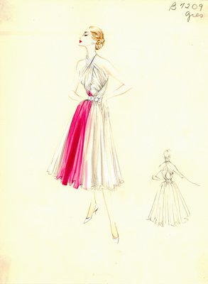 Alix Grès pink and white evening gown