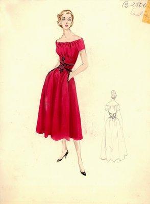 Leslie Morris red day dress