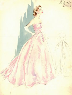 Dior pink satin evening gown