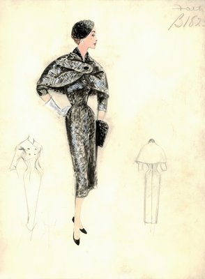 Jacques Fath tweed dress with cape