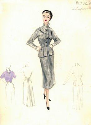 Schiaparelli gray plaid suit