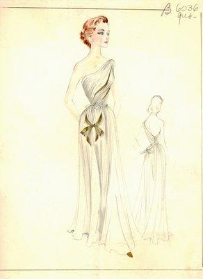 Alix Grès white evening gown
