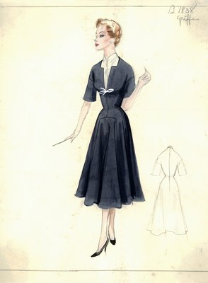 Jacques Griffe navy blue day dress