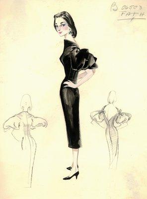 Jacques Fath black evening dress
