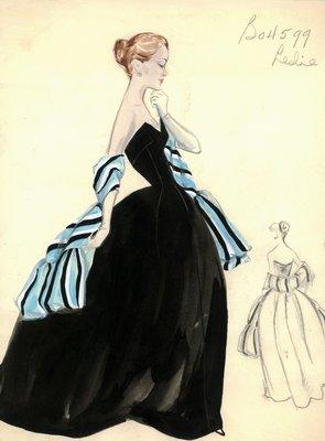Leslie Morris black velvet evening gown