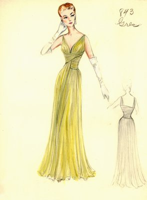 Alix Grès yellow evening gown