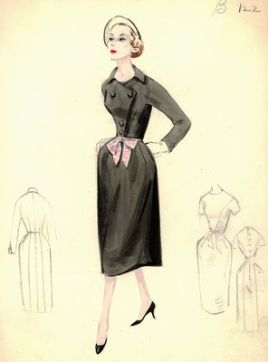Leslie Morris black day dress with jacket