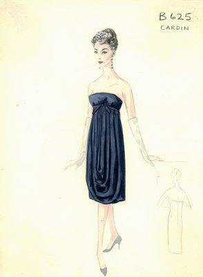 Pierre Cardin navy blue evening dress