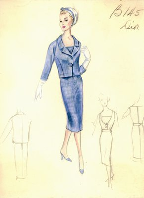 House of Dior blue dress with jacket
