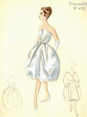 Simonetta white cocktail dress and stole