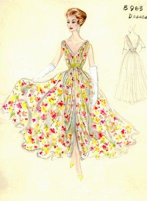 Jean Dessès floral print evening gown