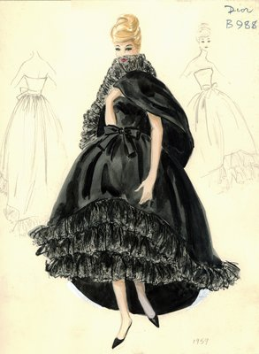 House of Dior black evening gown