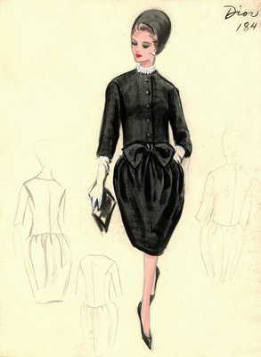 House of Dior black dress with jacket