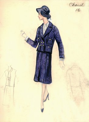 Chanel blue tweed suit