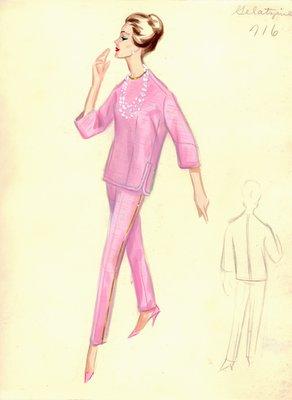 Irene Galitzine pink cocktail pantsuit