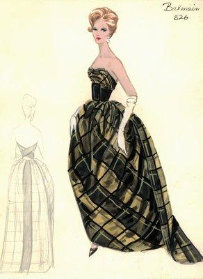 Balmain tartan evening gown