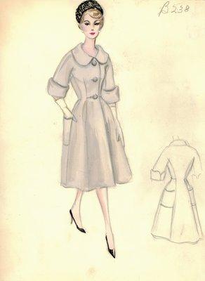Tan coat with full skirt