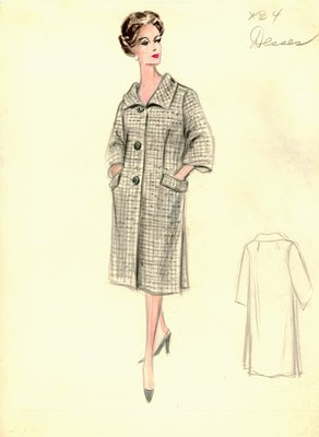 Jean Dessès gray and white coat