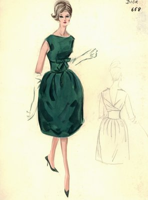 House of Dior green cocktail dress