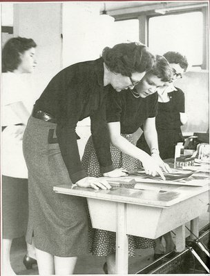 Photograph of Frances Neady with students, c. 1955
