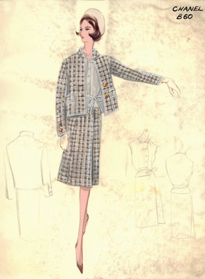 Chanel tweed suit with blouse