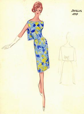 Jean Dessès floral patterned cocktail dress