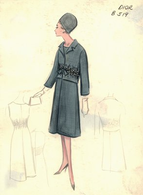 House of Dior gray cocktail dress with jacket