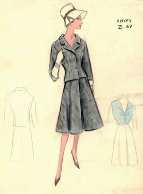 Hardy Amies gray suit with blue blouse