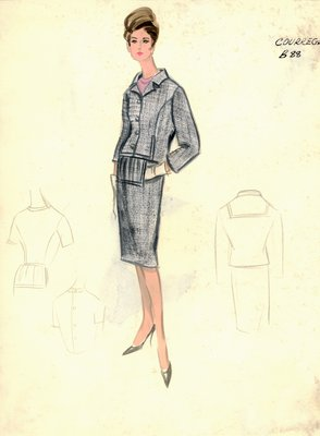 Courrèges gray day dress with jacket