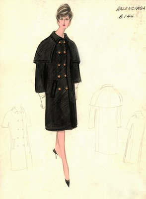 Balenciaga day dress with black coat