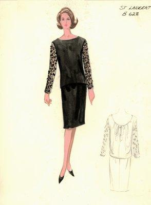 Yves Saint Laurent black lace ensemble