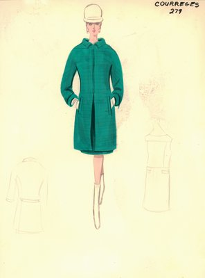 Courrèges green day dress with coat
