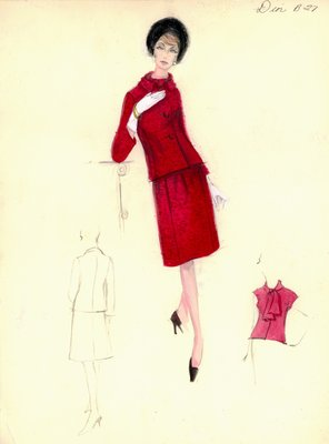 House of Dior red mohair suit with blouse