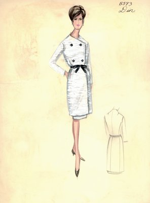 House of Dior white coat with cocktail dress