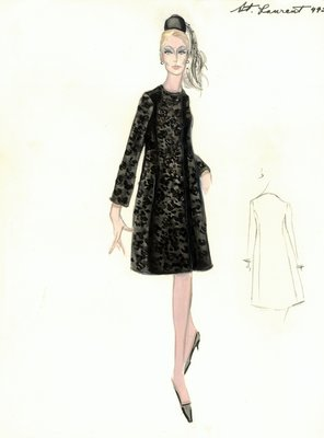 Yves Saint Laurent black evening coat