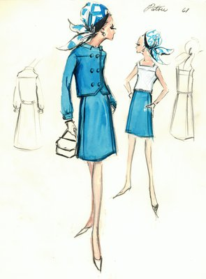 Jean Patou dress, turquoise skirt and jacket